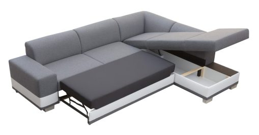 Storage and Bed. Modern Corner Sofa Bed with Cushions - Barbados