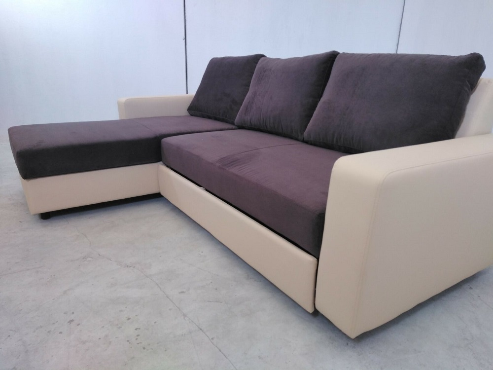 Sofa bed with reversible chaise longue noa don baraton - Chaise longue sofa bed ...