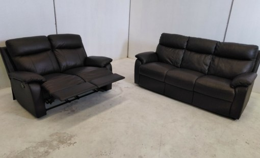 Conjunto 3+2 - sofá 3 plazas mas sofá 2 plazas con relax de piel autentico - Ian
