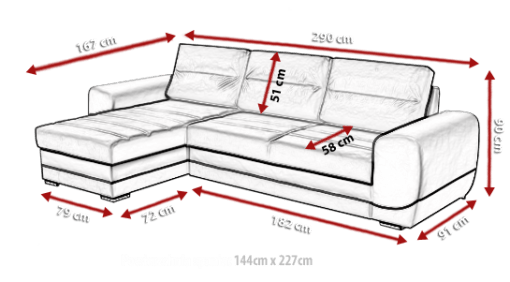 Размеры дивана. Серый диван-кровать с шезлонгом - Cayman