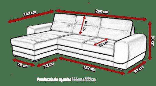 Medidas de sofá chaise longue cama - Cayman