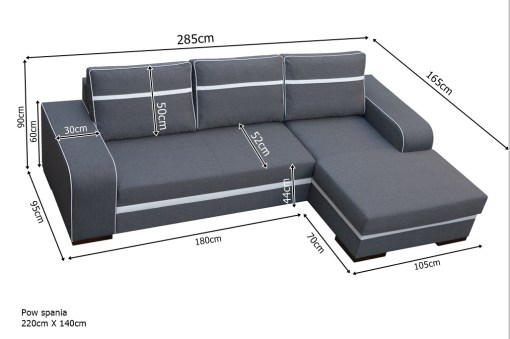 Dimensions. Chaise Longue Sofa Bed with Storage - Bermuda