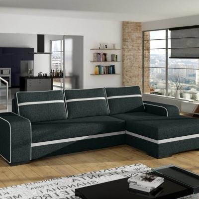 Sofá cama, chaise longue derecha, gris oscuro con arcón - Bermuda