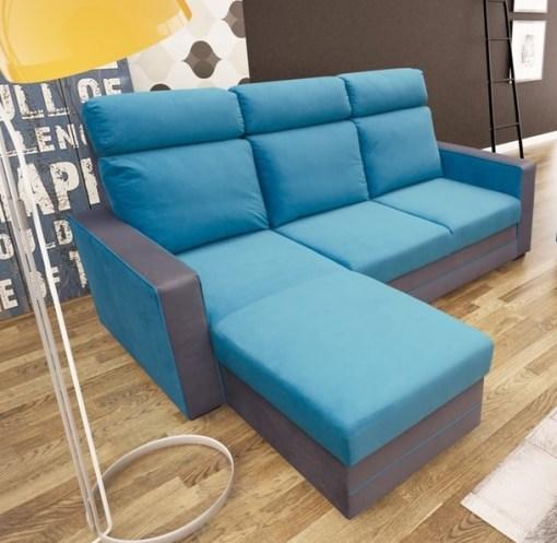Sofá chaise longue cama tapizado en tela de azul - Miami