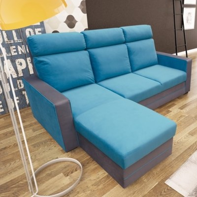 Blue Chaise Longue Sofa with Pull-Out Bed - Miami