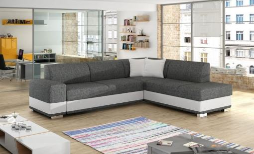 Modern Corner Sofa Bed with Cushions (Right Corner) - Barbados. Light Grey Fabric