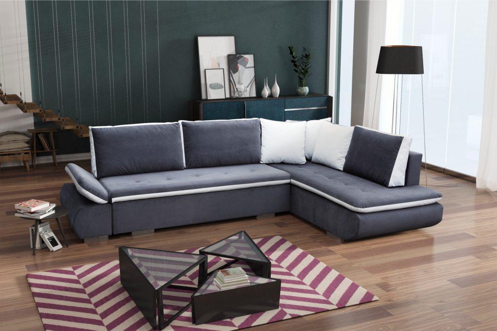 Sof rinconera cama de color azul con cojines bondi don baraton tienda de sof s colchones - Cojines grandes para cama ...