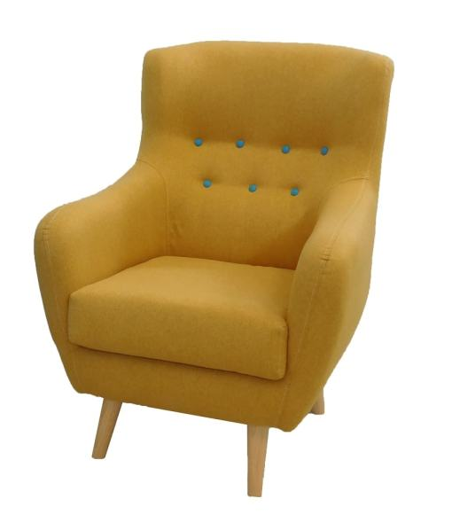 Yellow upholstered buttoned chair - Stockholm