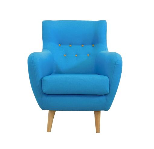Blue upholstered buttoned chair - Stockholm