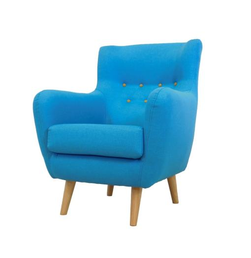 Blue fabric buttoned chair - Stockholm