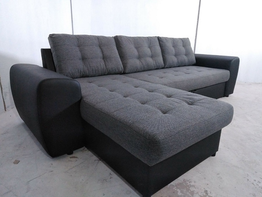Sof chaise longue cama tapizado en tela y polipiel for Sofa 1 plaza chaise longue