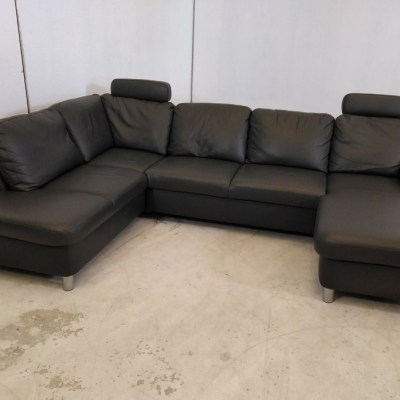 Large Ex Display U-shaped Real Leather Sofa - Dylan