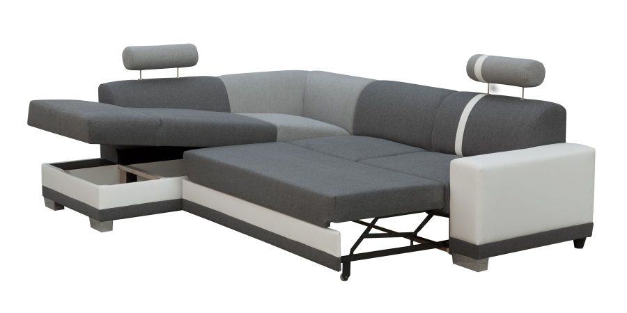 Corner Sofa with Pull out Bed and Storage Grey Fabric and White