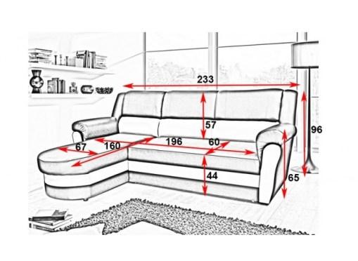 Medidas. Sofá chaise longue cama con arcón - Parma