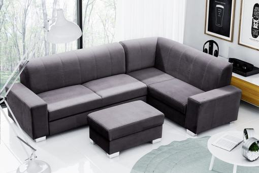 Corner Sofa Bed (4 Seater) with Pouffe. Dark Grey Colour. Right Corner - Sardinia