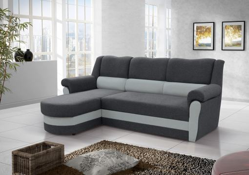 Диван-кровать с высокой спинкой серого цвета (левый угол) - Parma