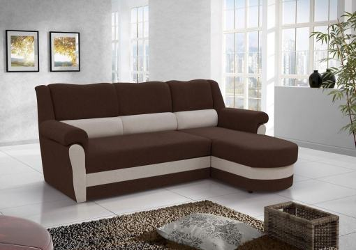 Chaise Longue Sofa Bed with High Backrest (Right Corner) - Parma. Brown Fabric