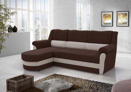 Диван-кровать с высокой спинкой коричневого цвета (левый угол) - Parma
