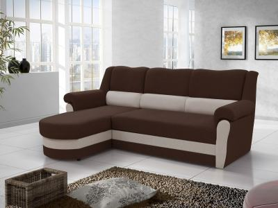 Chaise Longue Sofa Bed with High Backrest (Left Corner) - Parma. Brown Fabric