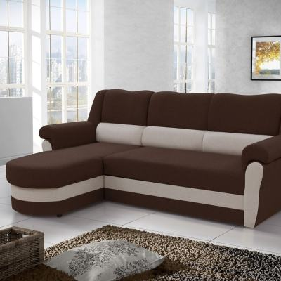 Sofá chaise longue cama alto respaldo con arcón. Tela de color marrón. Esquina izquierda - Parma