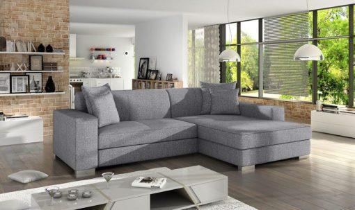 Light grey fabric minimalist chaise longue sofa bed (right corner) - Maldives