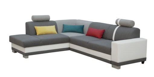 Corner Sofa with Pull-out Bed and Storage. Grey Fabric and White Synthetic Leather - Fiji