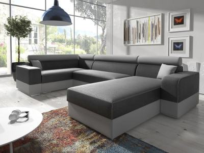 Spacious U-shaped sofa with pull-out bed - Milan. Left corner. Grey fabric