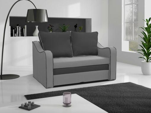 Маленький раскладной диван-кровать - Trieste (серая ткань). Тёмно-серые подушки