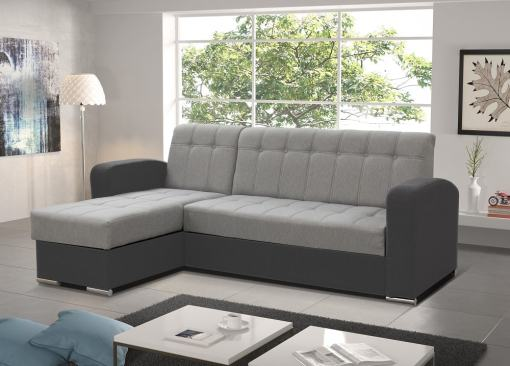 Light Grey / Dark Grey Style. Left Corner. Chaise Longue Sofa with Pull-Out Bed and Storage - Salerno