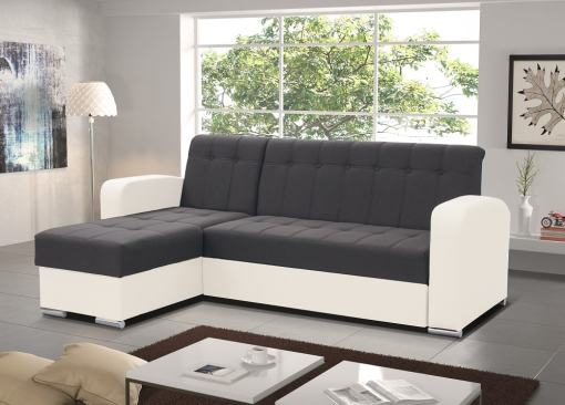 Grey and White Style. Left Corner. Chaise Longue Sofa with Pull-Out Bed and Storage - Salerno