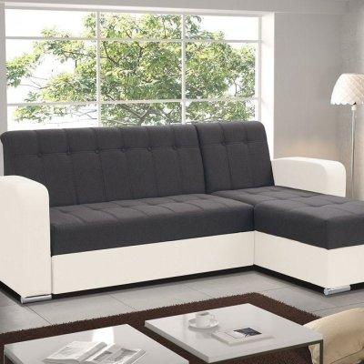 Sofá chaise longue cama con arcón gris y blanco. Chaise longue derecha - Salerno