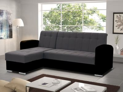 Grey and Black Style. Left Corner. Chaise Longue Sofa with Pull-Out Bed and Storage - Salerno