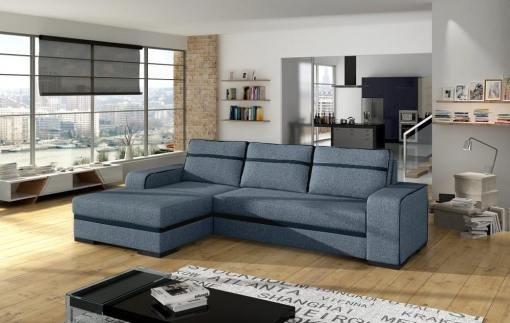 Chaise Longue Sofa Bed with Storage - Bermuda. Grey Fabric. Left Corner