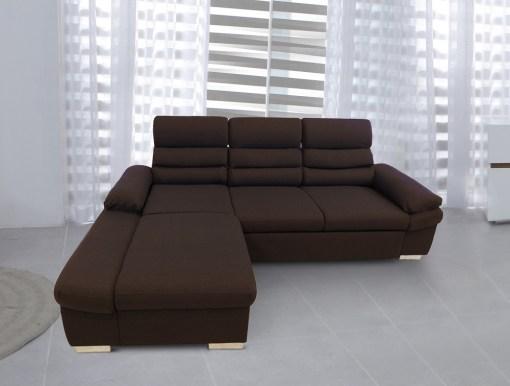 Sofá chaise longue cama con arcón y reposacabezas reclinables. Tela marrón, chaise longue izquierda - Capri