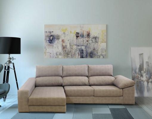 Sofá con asientos deslizantes. Chaise longue izquierda. Color marrón - Gothenburg