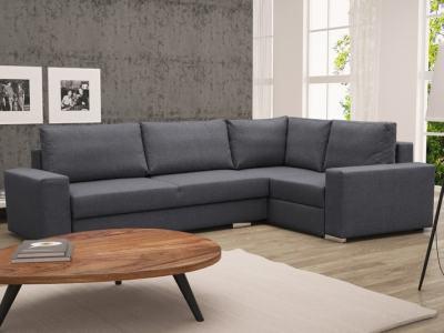 Sofá rinconera con cama plegable, esquina derecha, color gris oscuro – Harbour