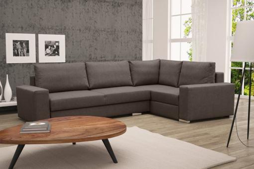 Sofá rinconera con cama plegable, esquina derecha, color marrón – Harbour