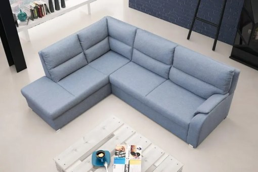 Corner Sofa Bed with Open End - Crete. Left Corner, Light Grey Fabric