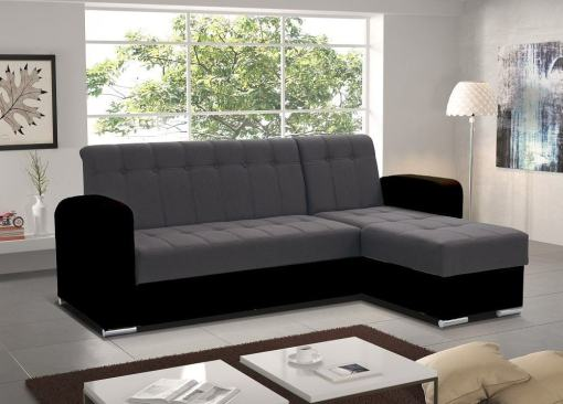 Grey and Black Style. Right Corner. Chaise Longue Sofa with Pull-Out Bed and Storage - Salerno