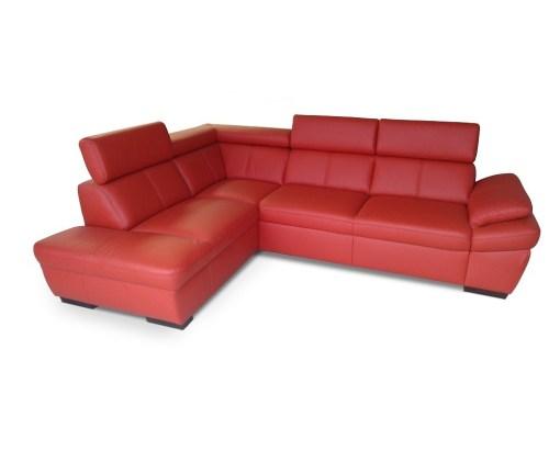 Sofá de piel auténtica de color rojo. Esquina al lado izquierdo - Verona