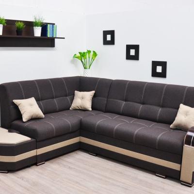 Sofá rinconera cama con 2 arcones. Esquina izquierda. Color marrón - Modena