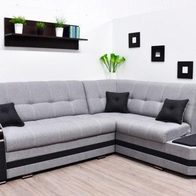 Sofá rinconera cama gris con 2 arcones. Esquina derecha. Color gris - Modena