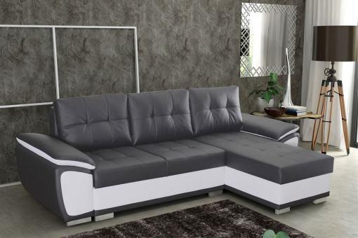 Sofá chaise longue cama en polipiel gris y blanca - Kingston. Chaise longue lado derecho