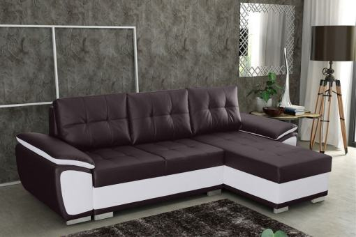 Chaise Longue Sofa Bed in Faux Leather - Kingston. Brown and White Faux Leather. Right Corner