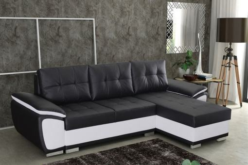 Chaise Longue Sofa Bed in Faux Leather - Kingston. Black and White Faux Leather. Right Corner