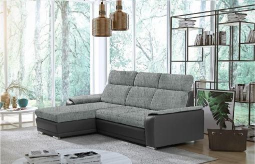 Sofá chaise longue reversible con cama - Vancouver. Color gris claro (Tela Inari 91, polipiel Soft 29). Chaise longue lado izquierdo
