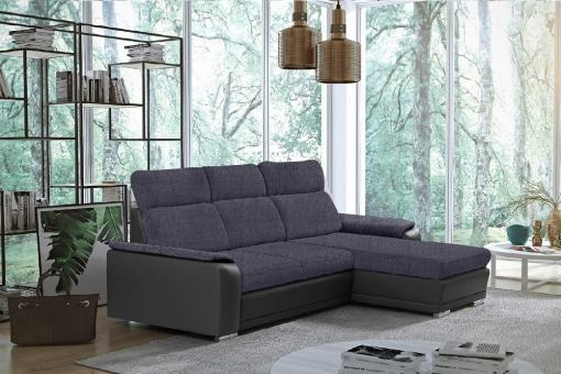 Dark Grey Fabric and Grey Faux Leather Chaise Longue Sofa with Pull-out Bed – Vancouver. Right Corner