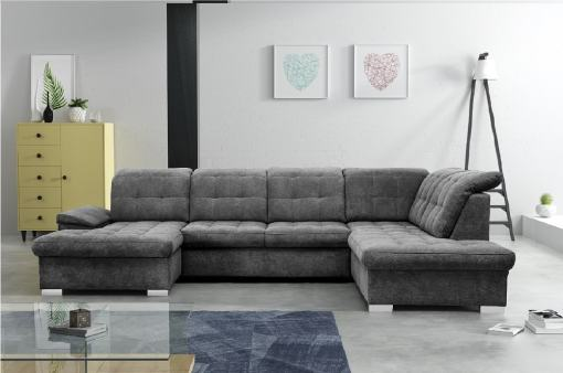 U-shaped Sofa with Pull-out Bed and Reclining Headrests - Toronto. Right Corner. Grey soft to touch fabric Alfa 19