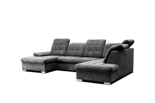 Spacious U-shaped Sofa with Pull-out Bed and Reclining Headrests - Toronto