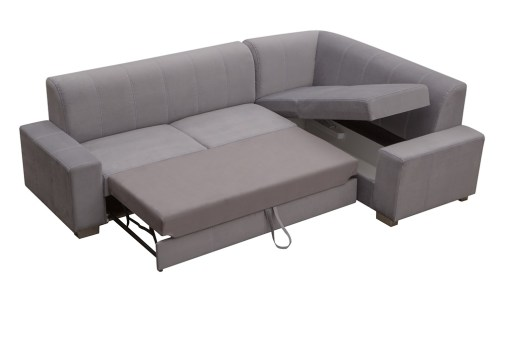 Pull-out Bed and Storage. Corner Sofa Bed (4 Seater) with Pouffe - Sardinia
